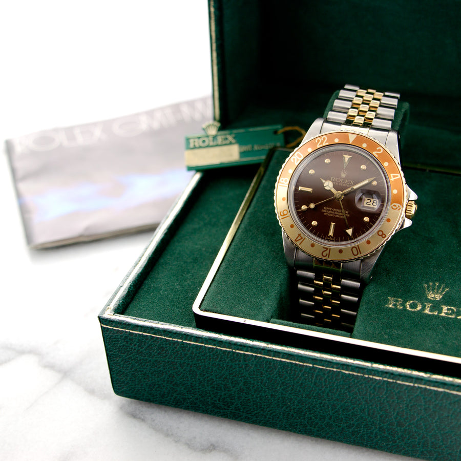 Rolex Two-Tone GMT-Master Root Beer Watch, With Original Box, Hangtag and Manual