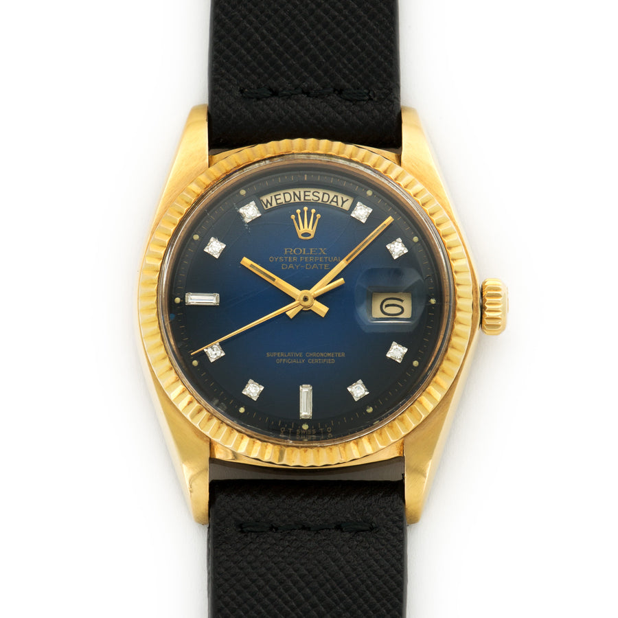 Rolex Day-Date Yellow Gold with Blue Vignette and Diamond Dial on Strap
