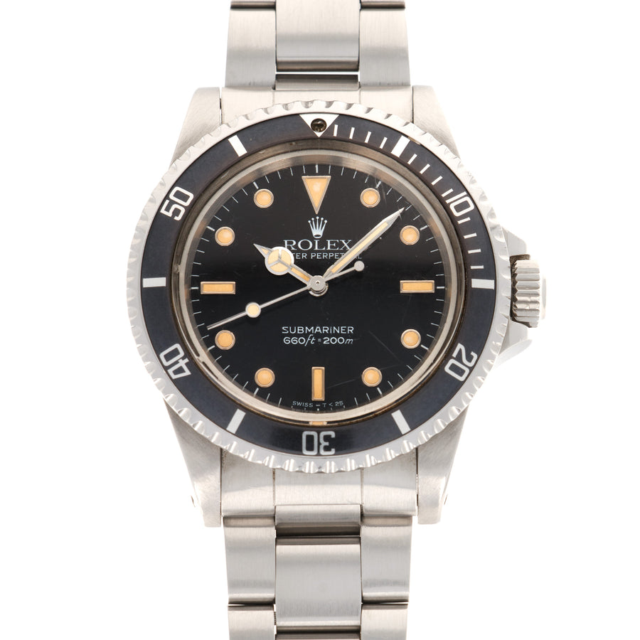 Rolex Submariner 5513 Steel  Likely Never Polished, Original Finish Gents Steel Black Dial with Beautiful Matching Patina 40mm Automatic 1984 Stainless Steel Bracelet Leather Travel Case
