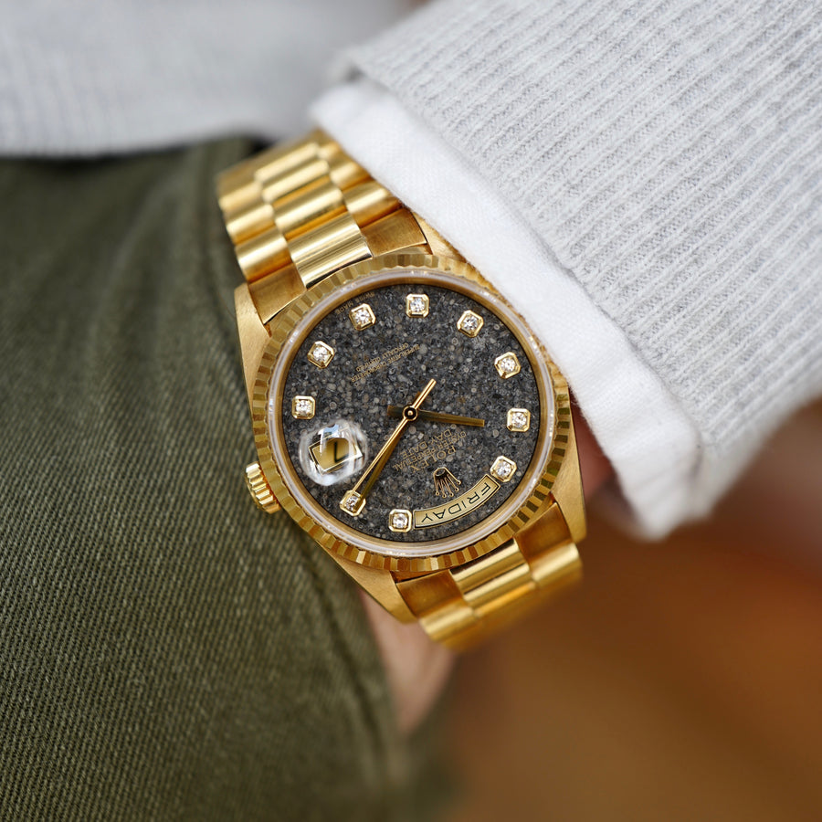Rolex Yellow Gold Jurassic Day-Date Fossil Dial Watch Ref. 18238