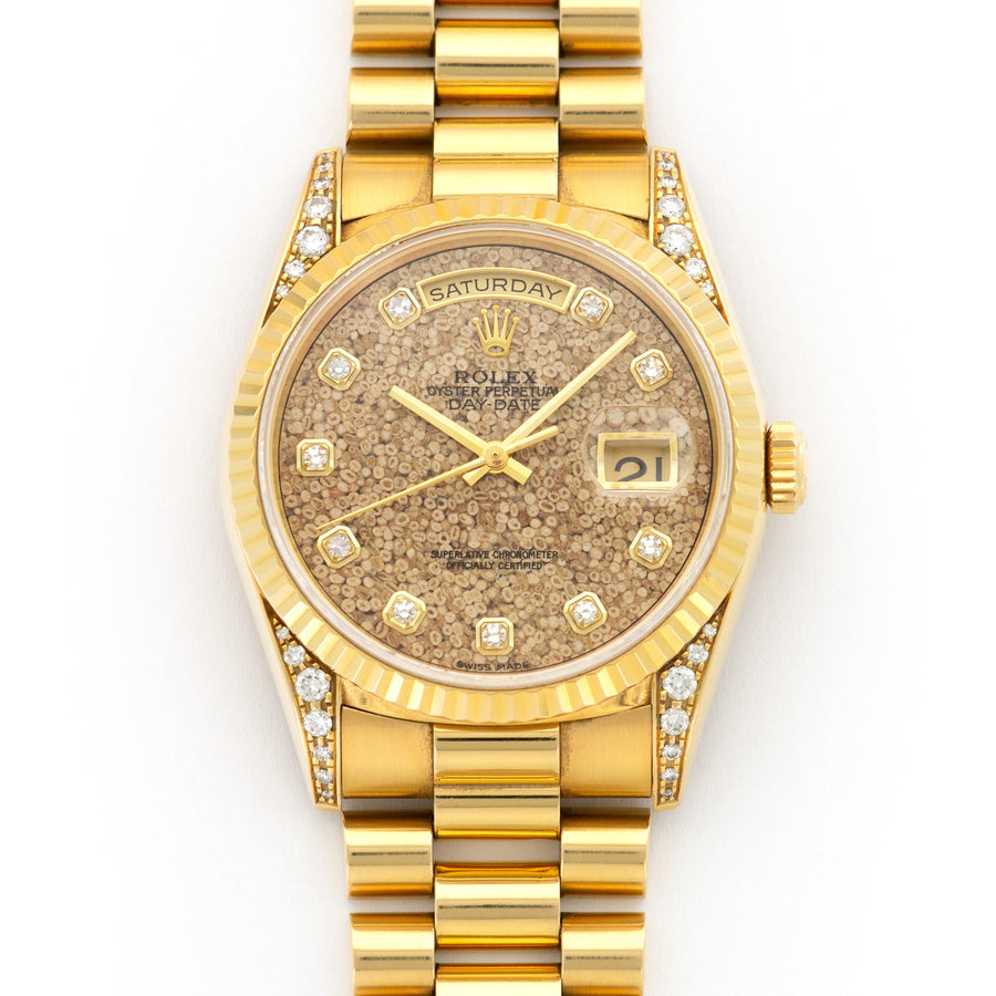 Rolex Yellow Gold Day-Date Fossil Dial Watch Ref. 18238, Nicknamed the Jurassic Park