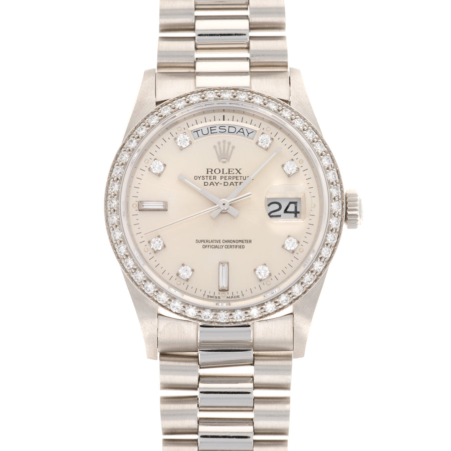 Rolex Day-Date 18046A Platinum  Thick Case with Signs of Original Finish Unisex Platinum Silver Diamond Markers 36mm Automatic 1989 Platinum Bracelet Leather Travel Case