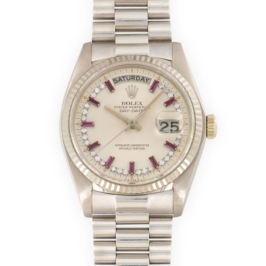 Rolex White Gold Day-Date Ruby And Diamond Watch Ref. 18039