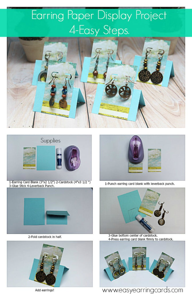 Card Making Ideas Tips Projects Part - 45: Earring Paper Display Project 4-Easy Steps
