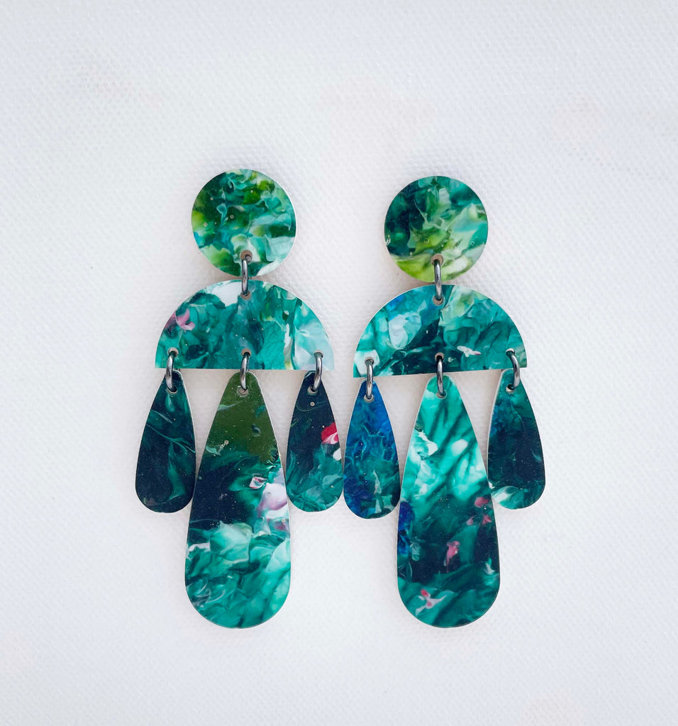 Resin Statement Earrings - Smaller Chandelier