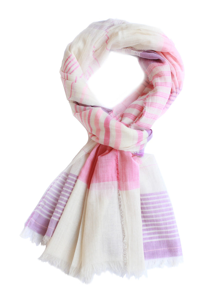 Busaba Exclusive: Premium Cotton Scarf (Pink-Violet) Sale 50%