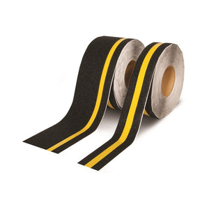 "INCOM Gator Grip Traction Tape 4"" x 40' Indoor/Outdoor Black Non-Skid Tape with High Visibility Strip"