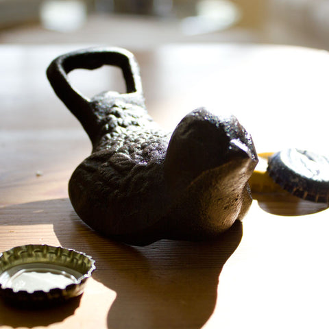 Cast Iron Bird Bottle Opener http://www.napavalleyhomeandgarden.com/products/cast-iron-bird-bottle-opener