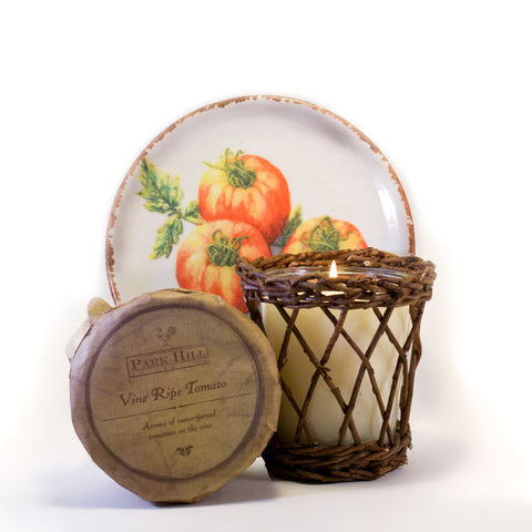 Park Hill Vine Ripe Tomato Candle http://www.napavalleyhomeandgarden.com/products/candle-tomato-vine