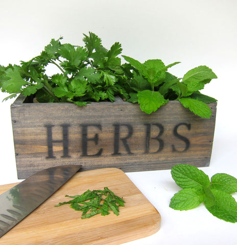 Herb and Garden Plant Markers http://www.napavalleyhomeandgarden.com/products/old-world-herb-box-with-mossy-pots