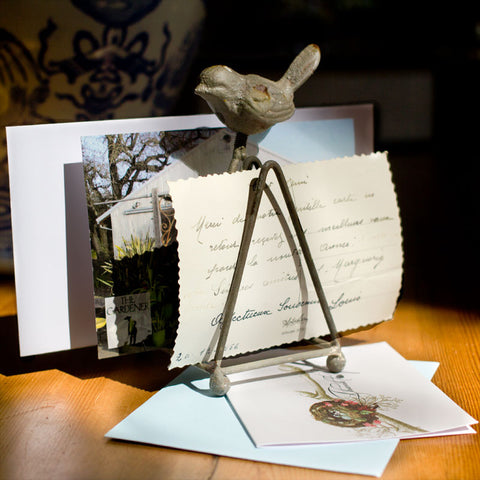 Rustic Bird Letter Holder http://www.napavalleyhomeandgarden.com/products/little-bird-metal-letter-holder