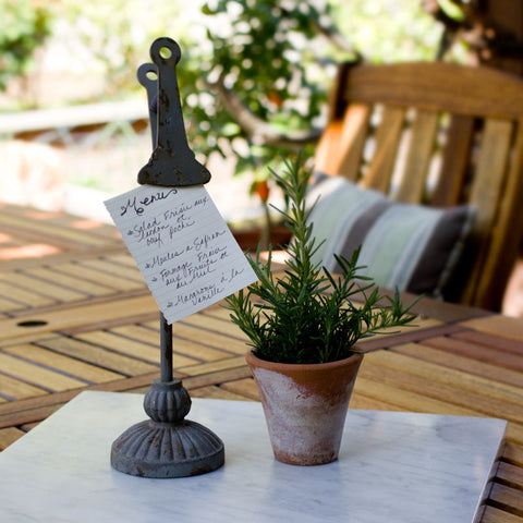 Rustic Metal Clip Sign Holder http://www.napavalleyhomeandgarden.com/products/rustic-metal-clip-sign-holder