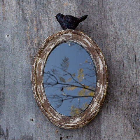 Wooden Oval Mirror with Song Bird http://www.napavalleyhomeandgarden.com/products/wooden-oval-mirror-with-song-bird