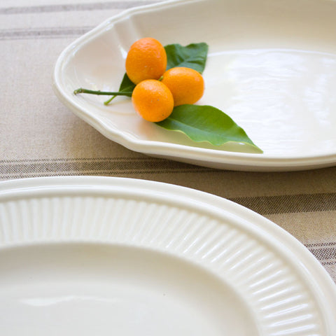 Farmhouse Creamware Oval Platters Set of Two