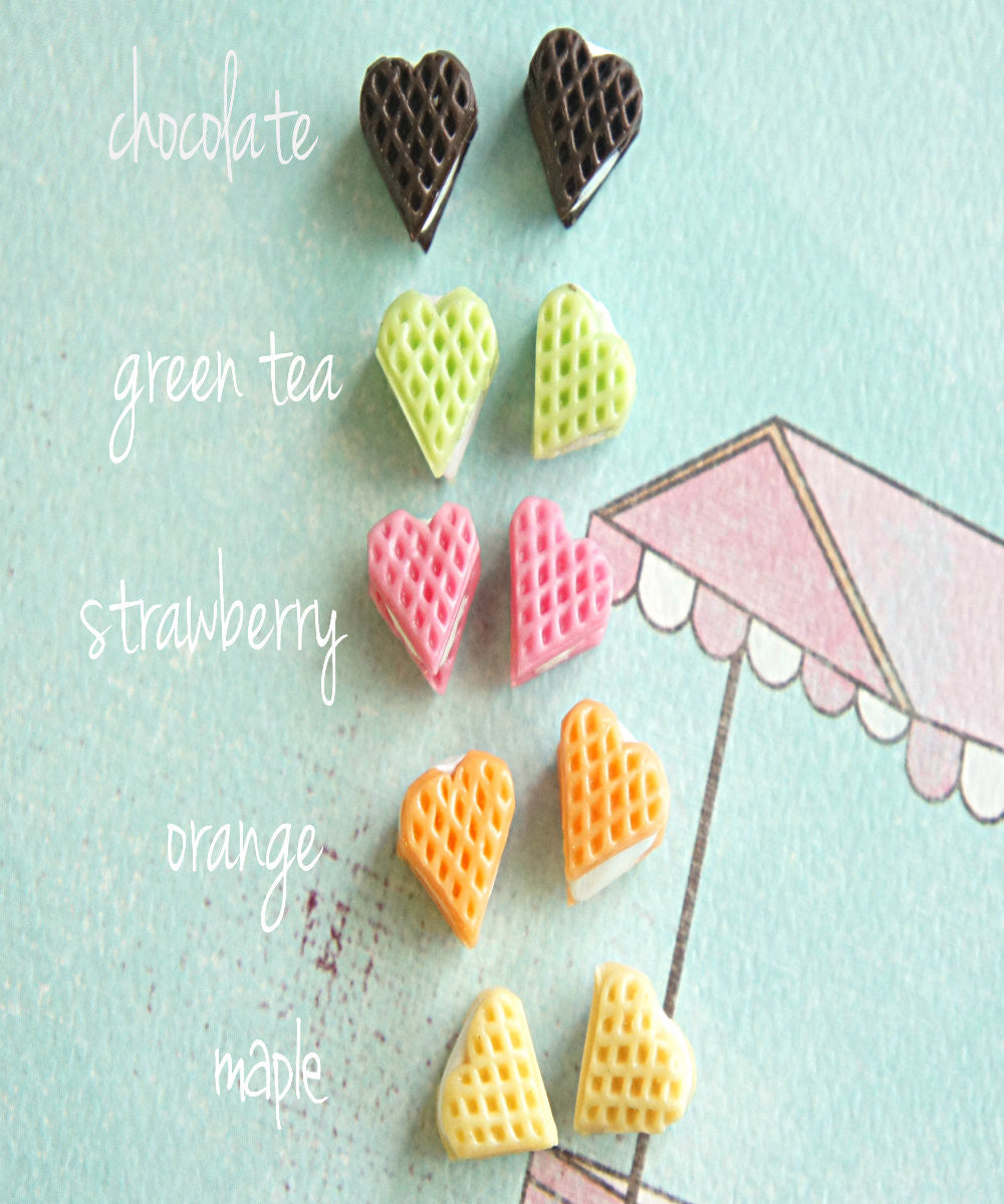Heart Waffle Stud Earrings - Jillicious charms and accessories