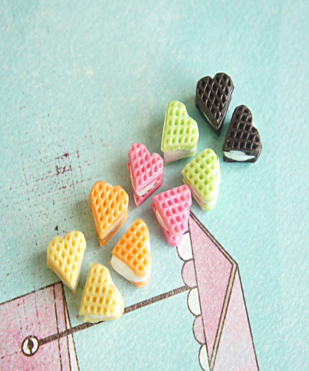 Heart Waffle Stud Earrings - Jillicious charms and accessories - 2