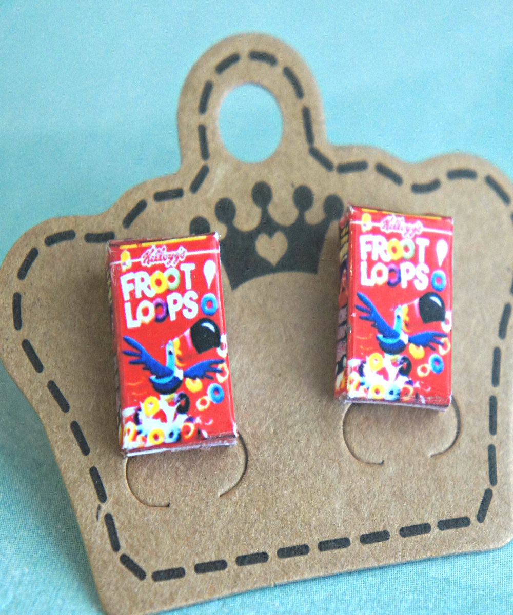 froot loops cereal box earrings - Jillicious charms and accessories