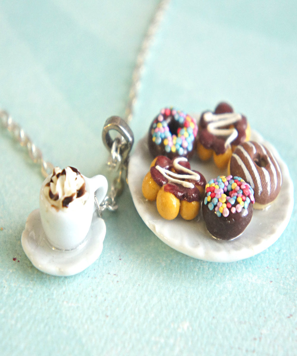 chocolate donuts and coffee necklace - Jillicious charms and accessories