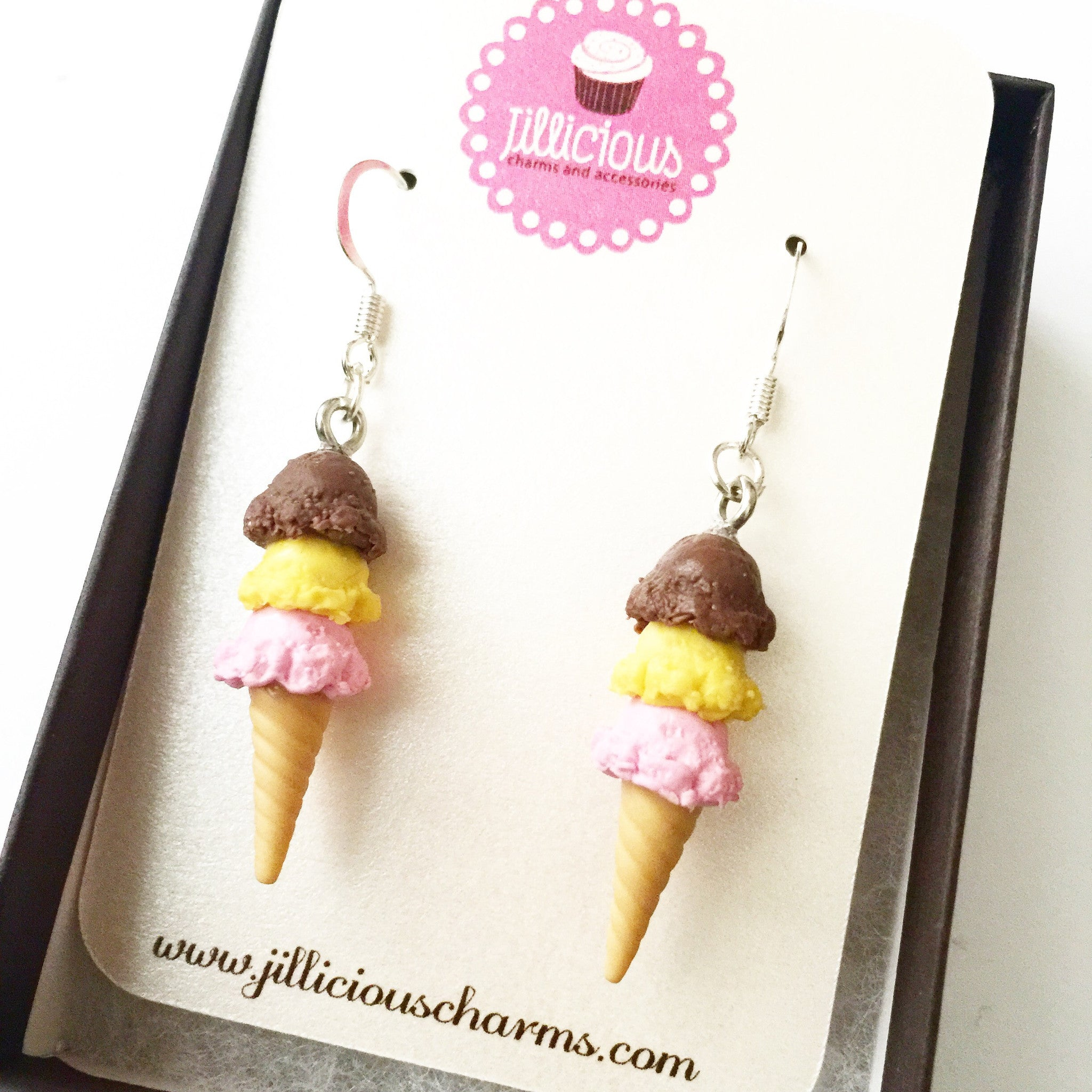 Neapolitan Ice Cream Dangle Earrings - Jillicious charms and accessories - 4