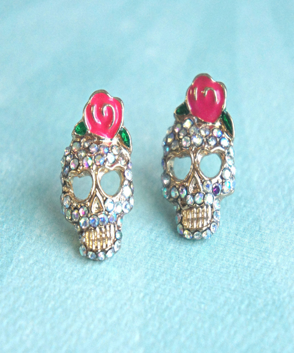 Sugar Skull Stud Earrings - Jillicious charms and accessories - 2