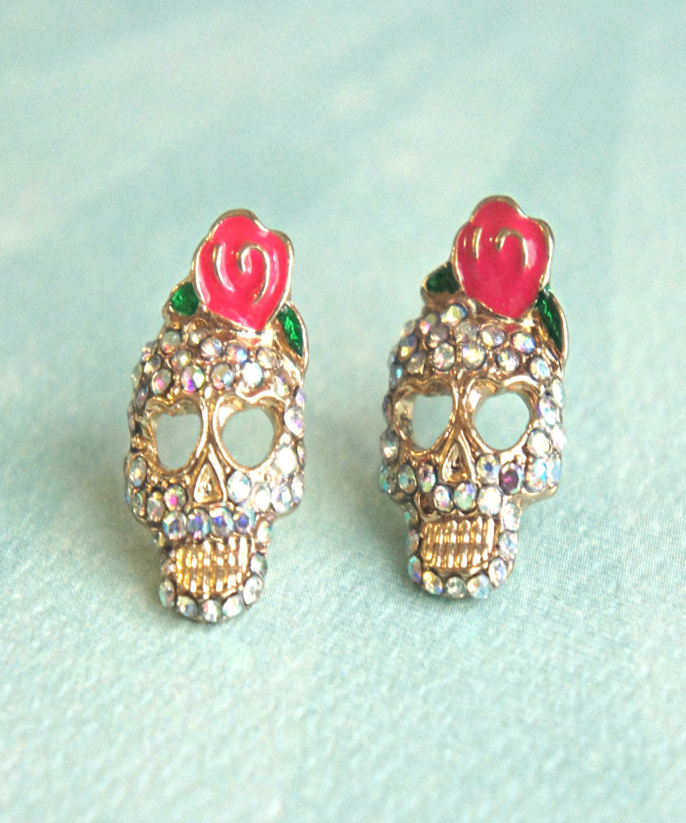 Sugar Skull Stud Earrings - Jillicious charms and accessories - 1