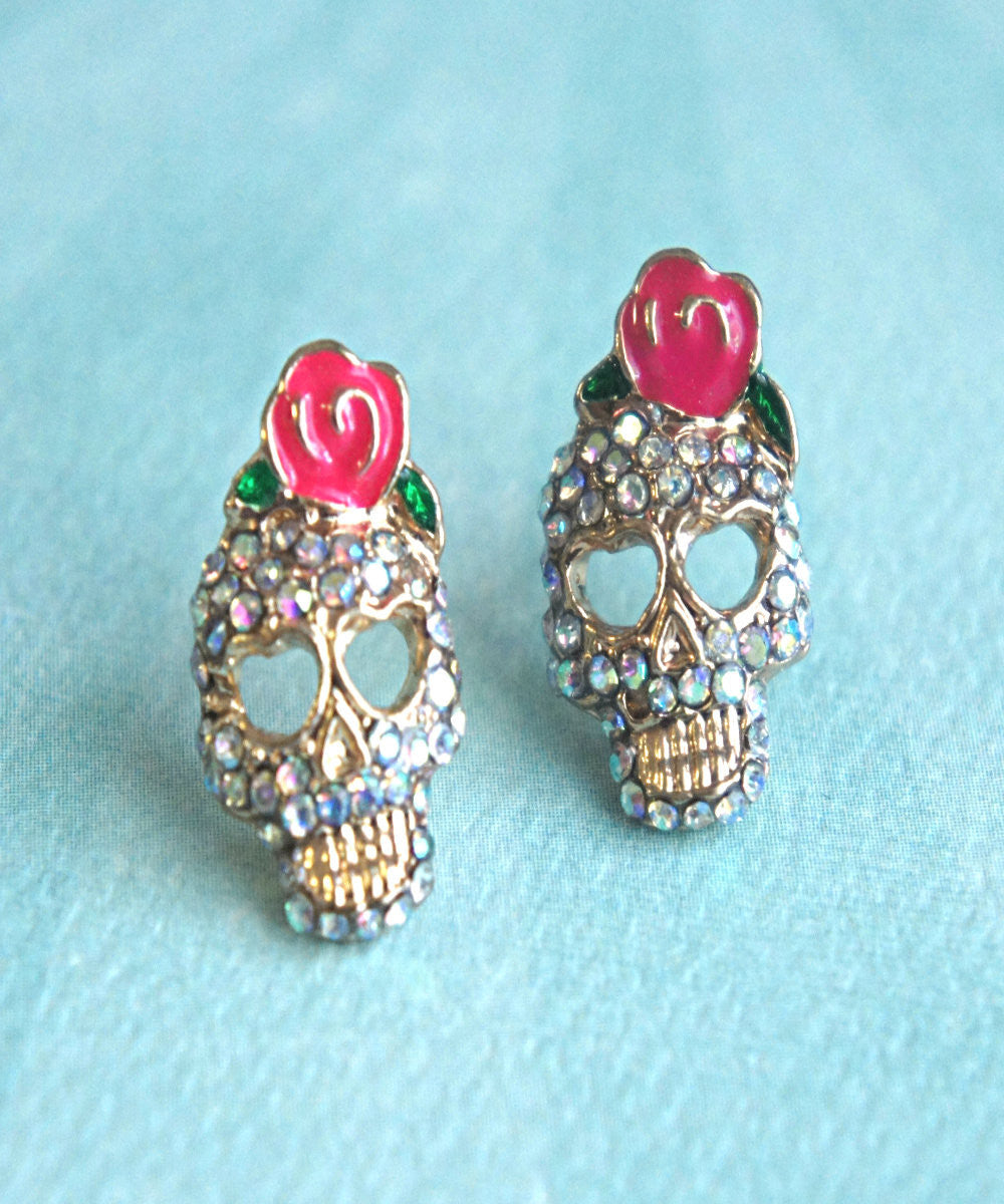 Sugar Skull Stud Earrings - Jillicious charms and accessories