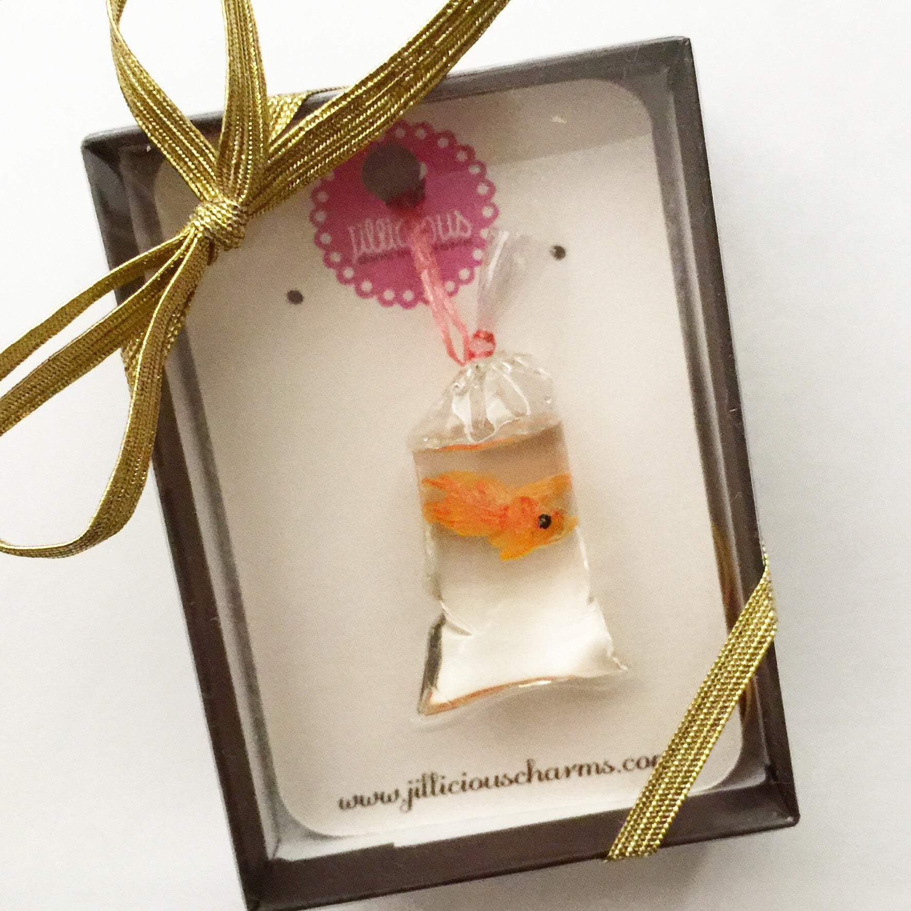 goldfish in a bag keychain/ bag charm - Jillicious charms and accessories