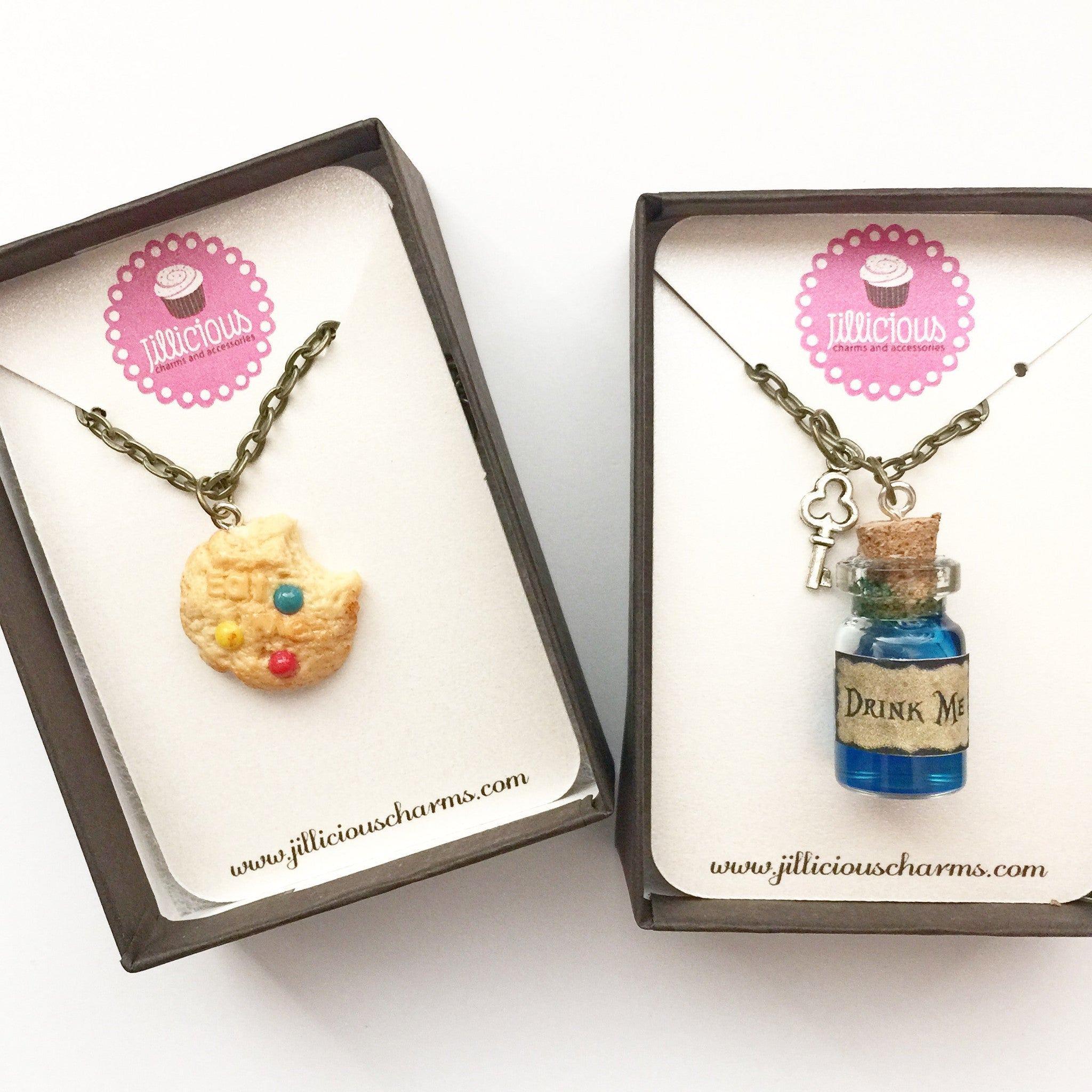 Alice in Wonderland Inspired Friendship Necklace Set- Eat me and Drink me Necklace - Jillicious charms and accessories