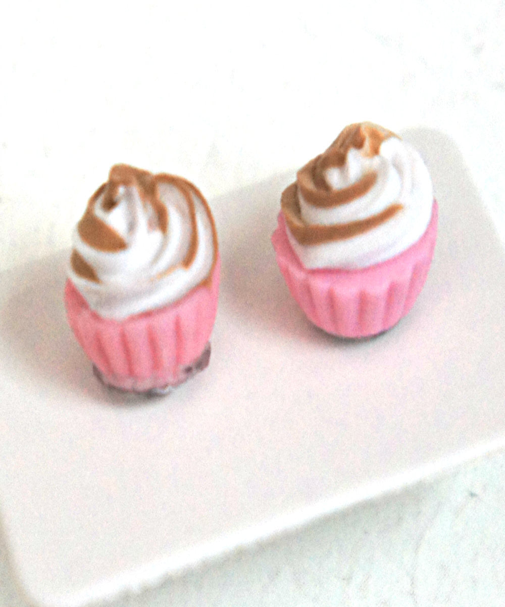 Neapolitan Cupcake Stud Earrings - Jillicious charms and accessories - 1