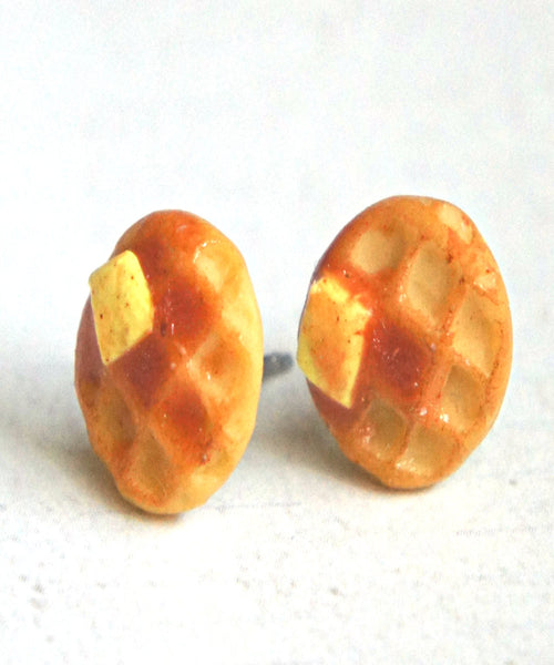 Waffles Stud Earrings - Jillicious charms and accessories - 1