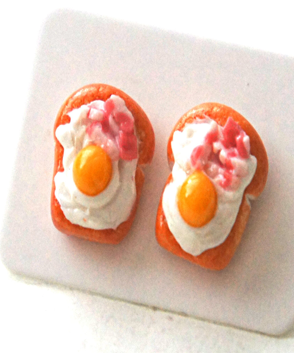 Bacon and Egg Bread Toast Stud Earrings - Jillicious charms and accessories