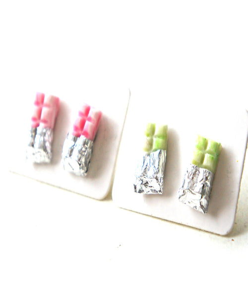 White Chocolate Bar Stud Earrings - Jillicious charms and accessories