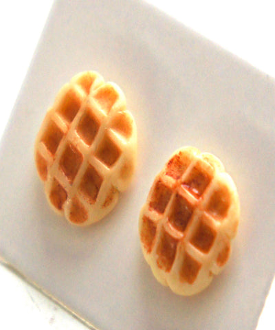 Belgian Waffles Stud Earrings - Jillicious charms and accessories
