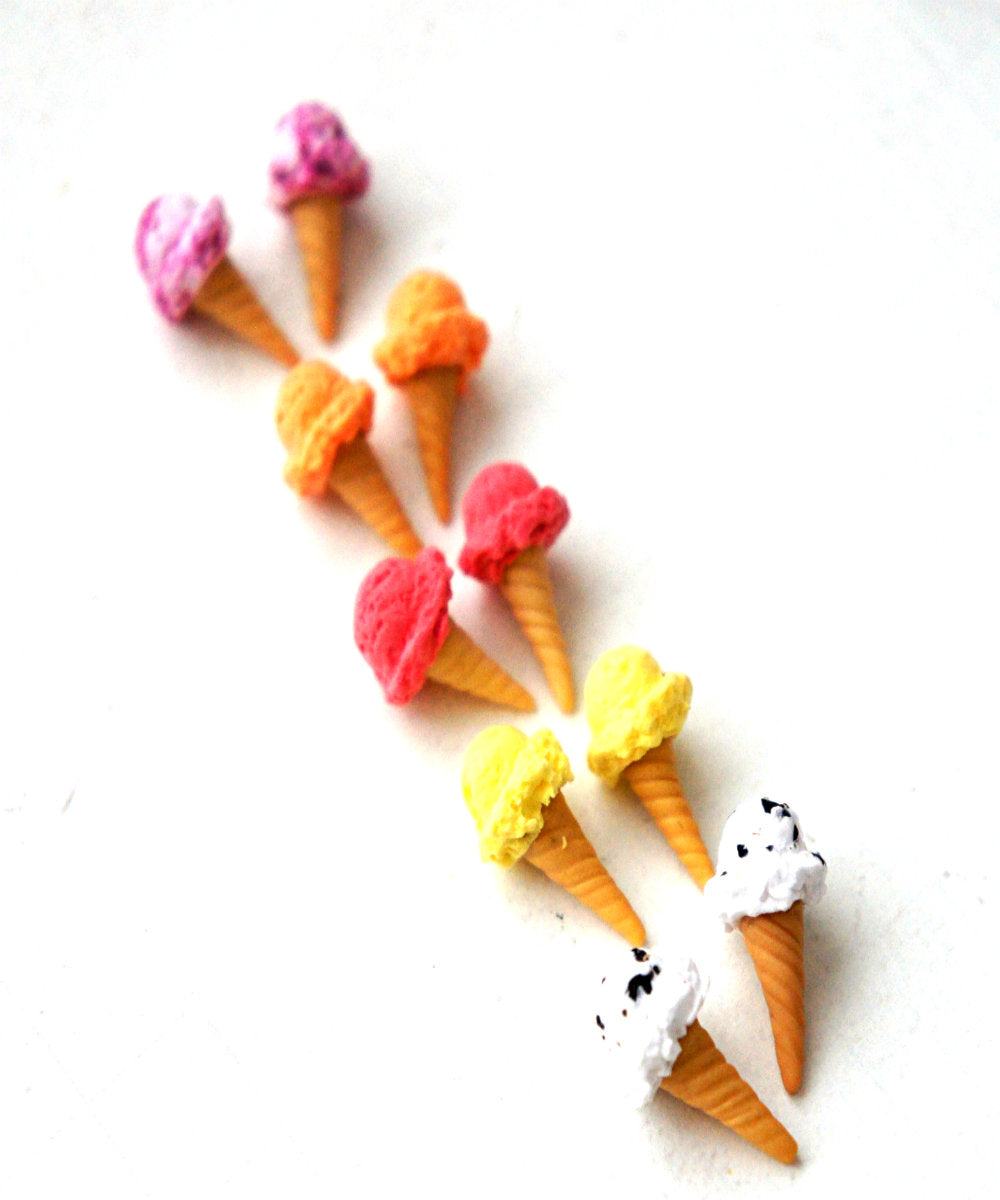 Ice Cream Cone Stud Earrings - Jillicious charms and accessories