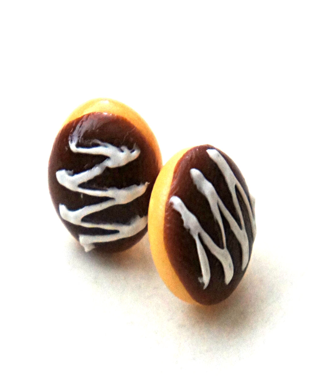 Boston Creme Donut Earrings - Jillicious charms and accessories
