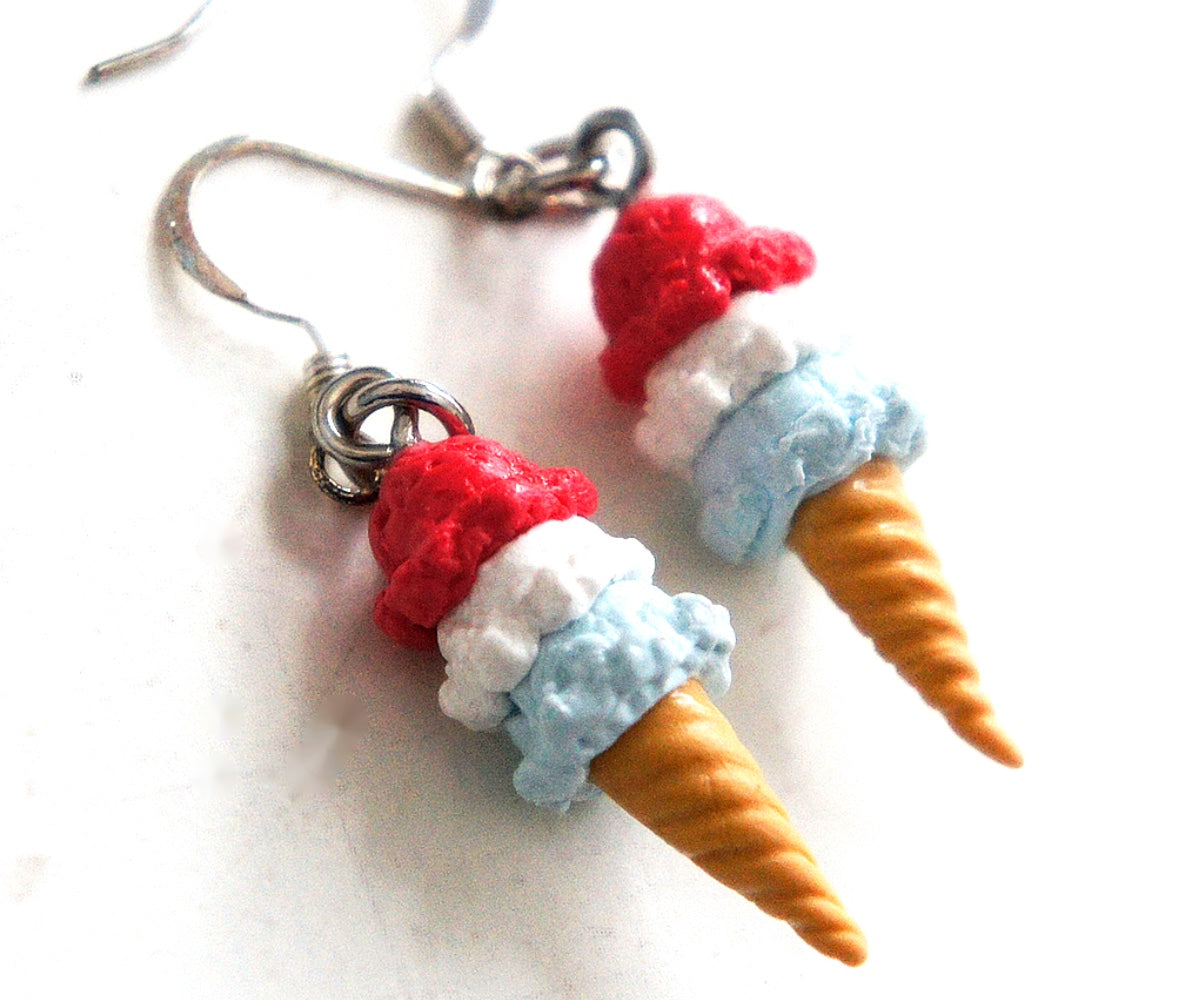 Red, White and Blue Ice Cream Dangle Earrings - Jillicious charms and accessories