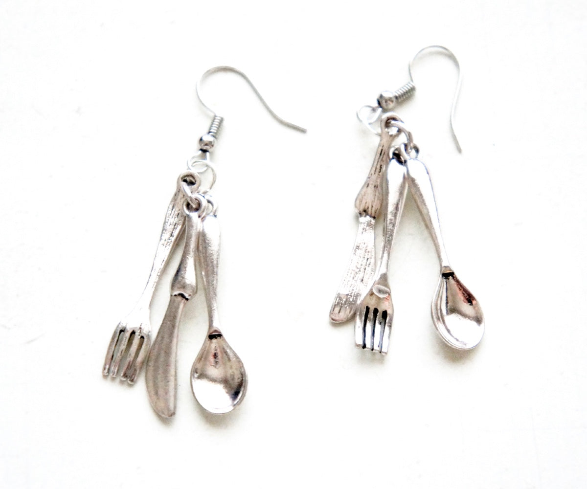 Dinner Utensils Dangle Earrings