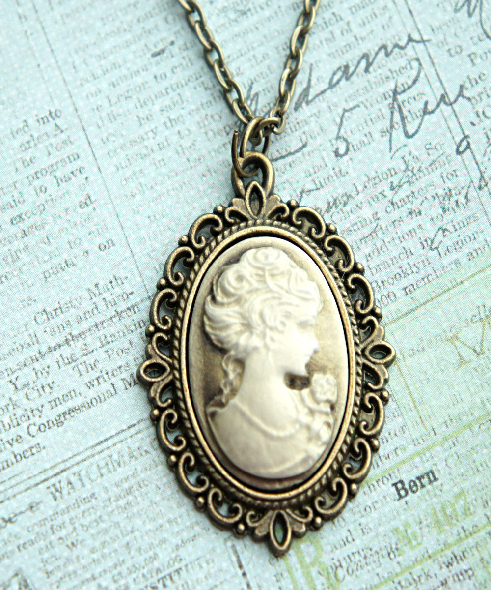Lady Portrait Cameo Necklace - Jillicious charms and accessories - 2