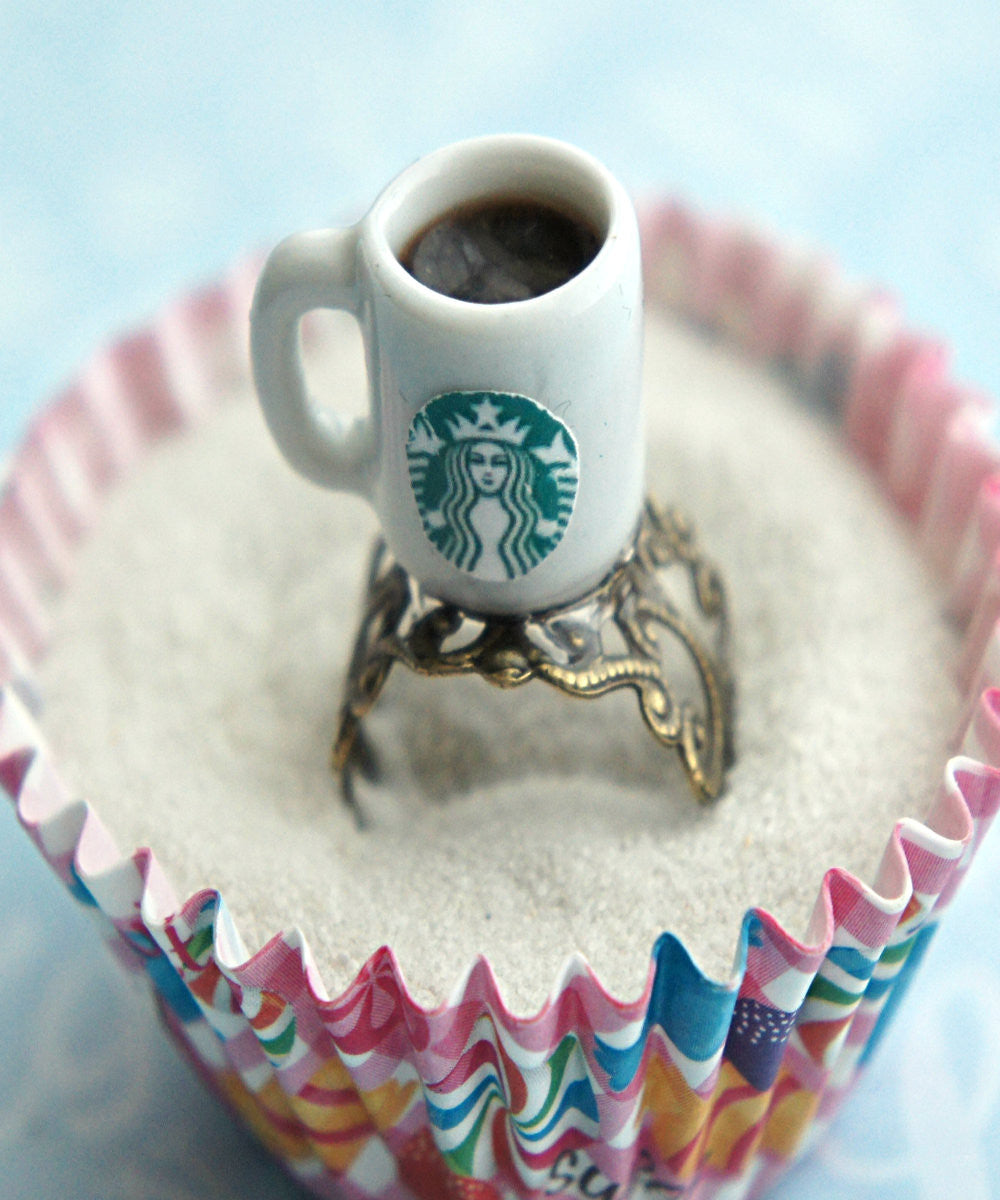 Starbucks Black Coffee Ring - Jillicious charms and accessories - 1