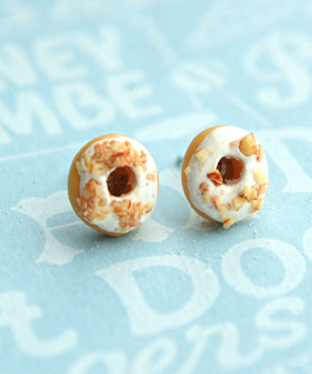 White Chocolate Donuts Stud Earrings - Jillicious charms and accessories - 1