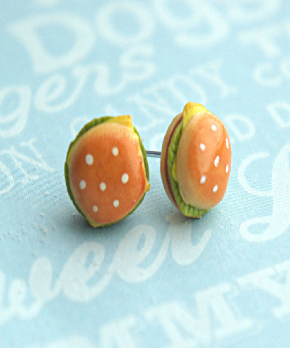 Burger Stud Earrings - Jillicious charms and accessories - 4