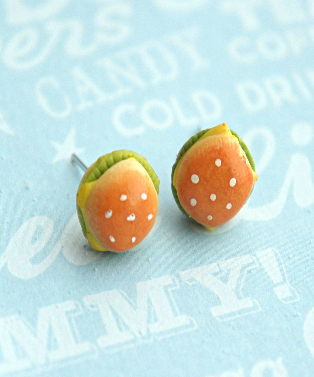 Burger Stud Earrings - Jillicious charms and accessories - 3