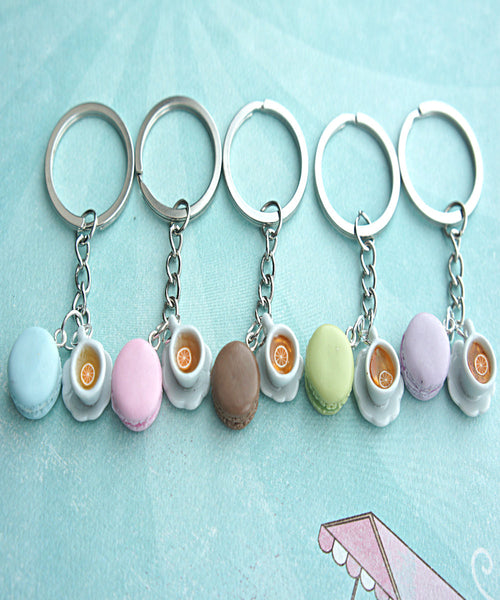 french macaron and tea keychain - Jillicious charms and accessories