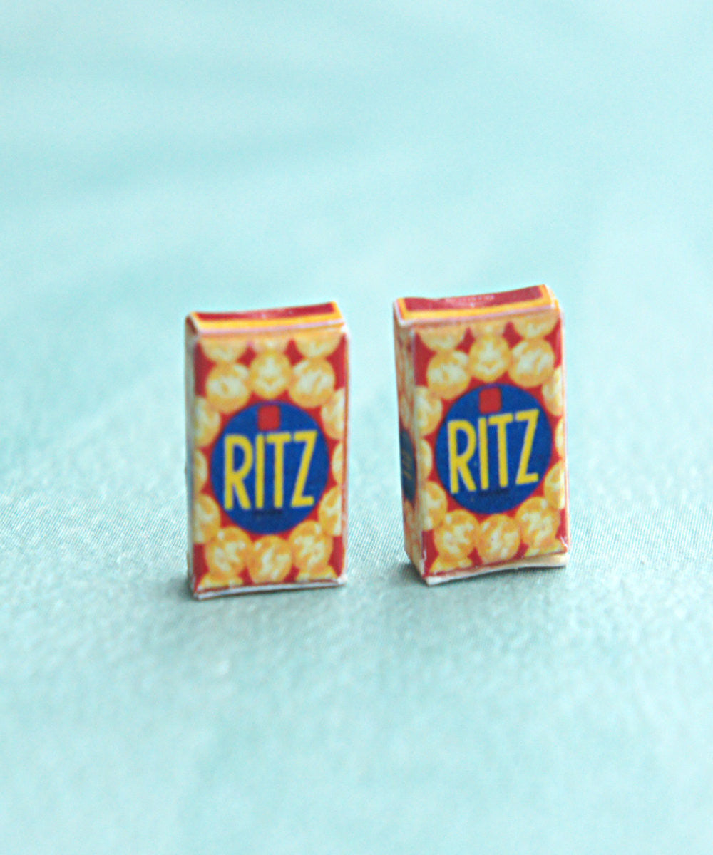 Ritz Crackers Box Stud Earrings - Jillicious charms and accessories - 1