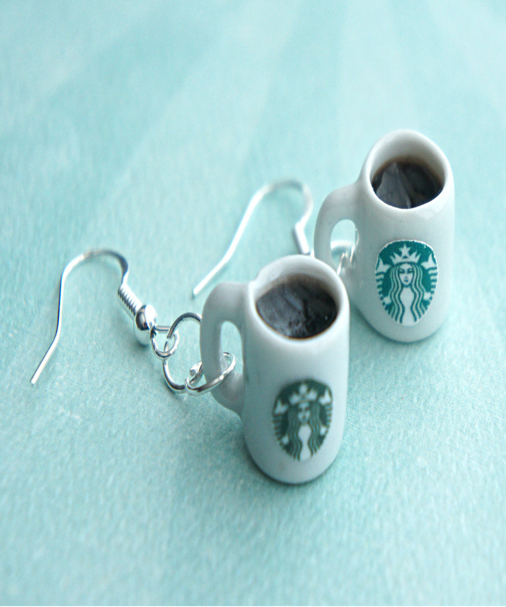 Starbucks Black Coffee Dangle Earrings - Jillicious charms and accessories - 1