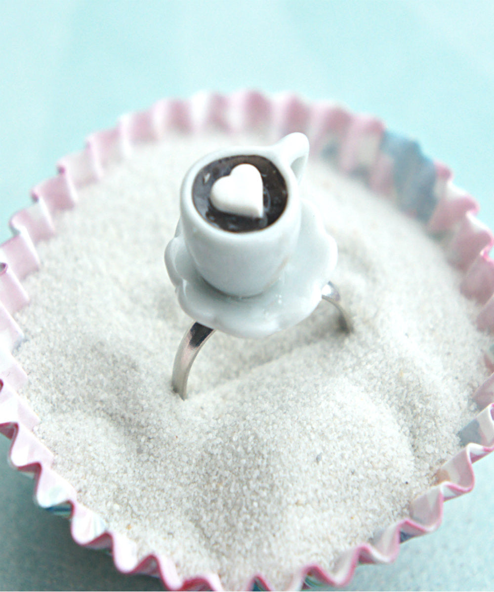 coffee with heart marshmallow ring - Jillicious charms and accessories