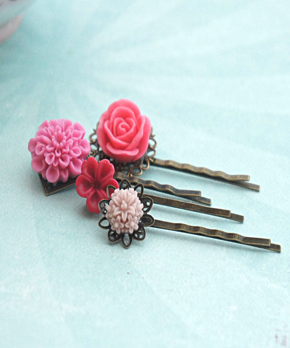 Shades of Pink Flower Hair Clips - Jillicious charms and accessories - 2