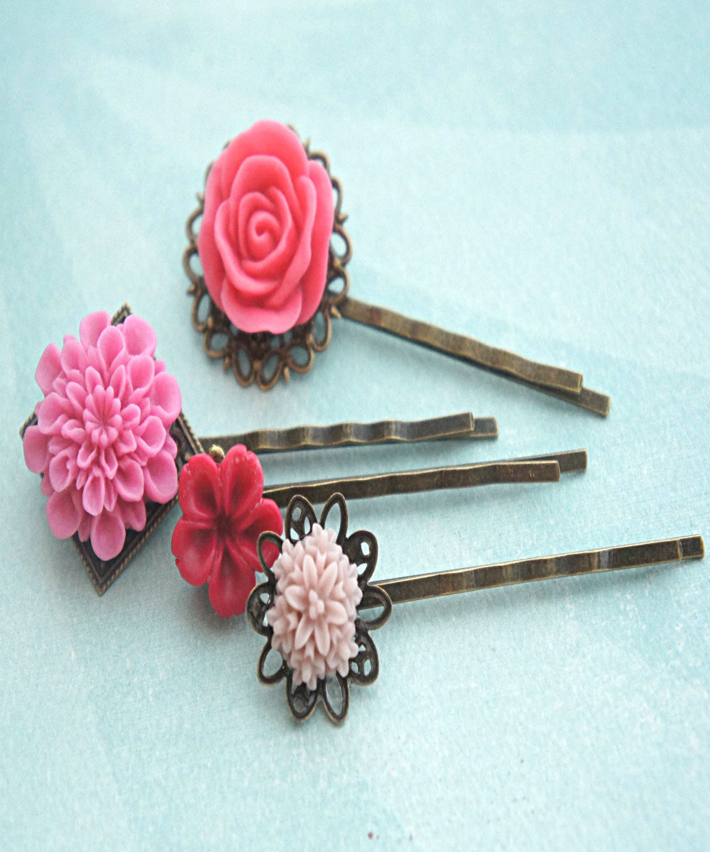 Shades of Pink Flower Hair Clips - Jillicious charms and accessories - 3