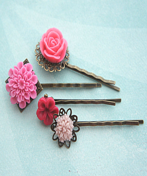 Shades of Pink Flower Hair Clips - Jillicious charms and accessories - 1