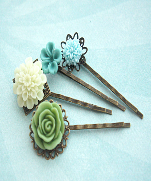 Shades of Green Flower Hair Clips - Jillicious charms and accessories - 1